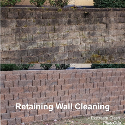 Retaining wall cleaning